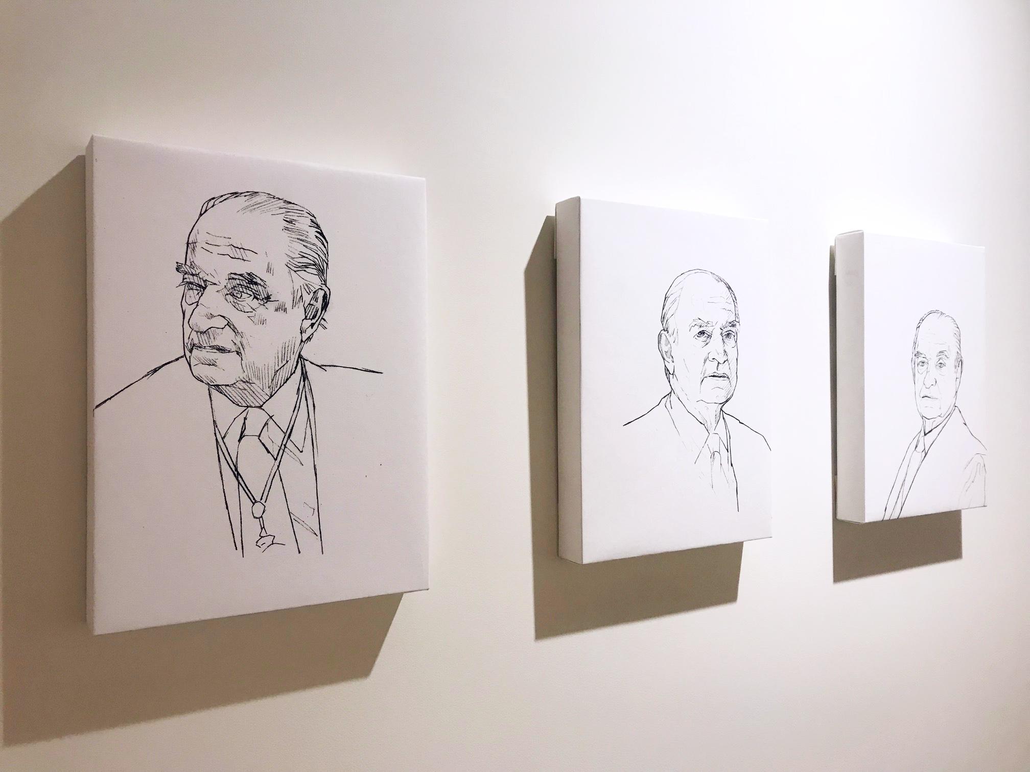 Bocetos del retrato de Landelino Lavilla Alsina.