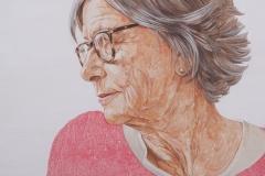 Retrato de María Luisa Zamora, 2018.Acrílico sobre tabla, 30 x 30 cm.