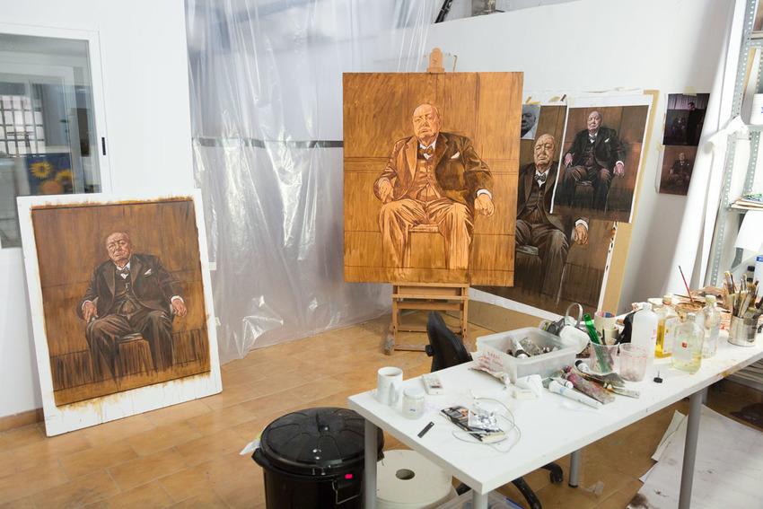 Estudio de trabajo para el retrato de Winston Churchill